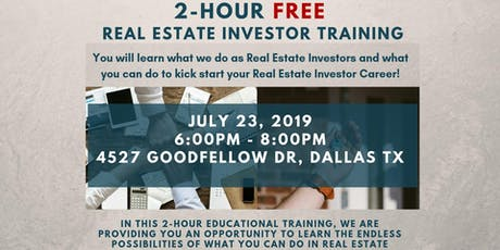 July 23rd: 2-Hour FREE Real Estate Investor Training tickets