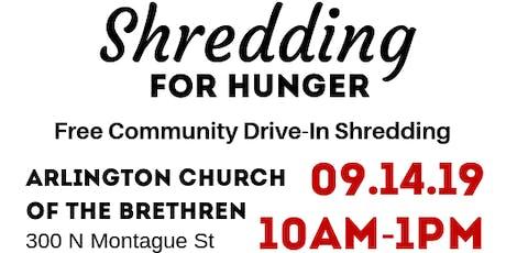 Shredding for Hunger - Free Community Drive-In Shredding Event tickets