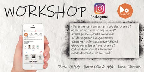 Workshop Instagram do começo 01/08 ingressos