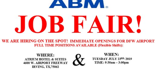 HIRING FAIR - ABM AVIATION -DFW AIRPORT JOBS