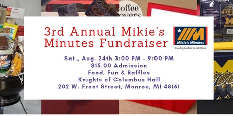 3rd Annual Mikie's Minutes Fundraiser with LIVE Chainsaw Carving tickets
