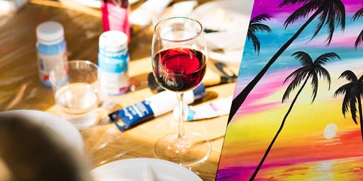 SIP N PAINT NIGHT | Sunset with Palm Trees
