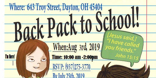 BACK PACK TO SCHOOL BASH! AUG 3,2019