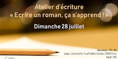 """Atelier d'écriture : """"Écrire un roman, ça s'apprend !"""" billets"""