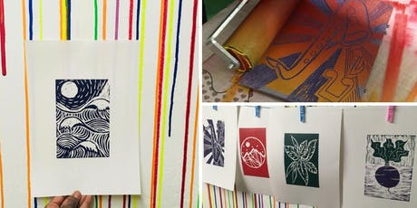 Learn to lino print your own A4 posters tickets