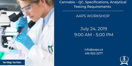 Cannabis – QC, Specifications, Analytical Testing Requirements Workshop tickets