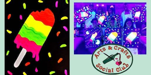 "BLACKLIGHT Painting Class - ""Rainbow Pop"""