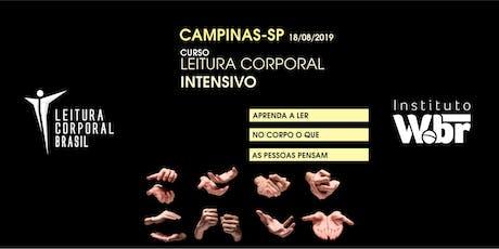 CURSO LEITURA CORPORAL INTENSIVO (10 HORAS) PRESENCIAL CAMPINAS-SP (18/08) ingressos
