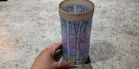 ART in Kingston  Birch Tree design Glass Vase Lantern. tickets