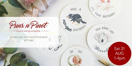 Puns n Pinot! A paint and Sip workshop with Kamelion Studios. tickets