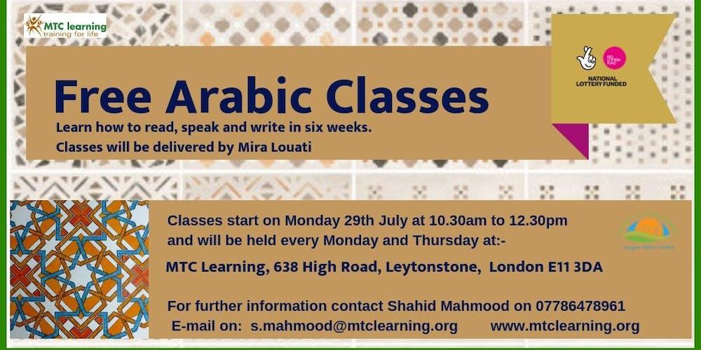 FREE ARABIC CLASSES Tickets, Multiple Dates | Eventbrite