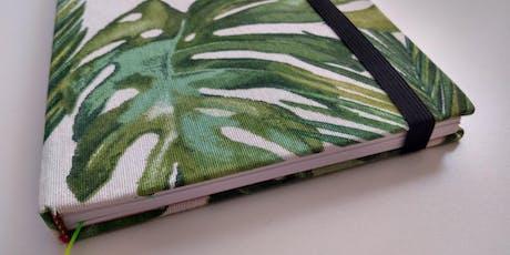 Encuadernacion artesanal en tela (diseño botanico) entradas