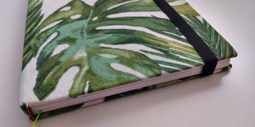 Encuadernacion artesanal en tela (diseño botanico)