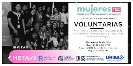 Voluntarios que Cambian el Mundo  - Charlas Mujeres TICs RD Julio 2019 boletos