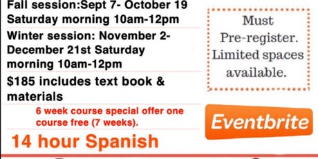 Introduction To Spanish Fall Session 7 wk course tickets