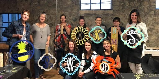 Blue Bee Cider Monogram Paint Party