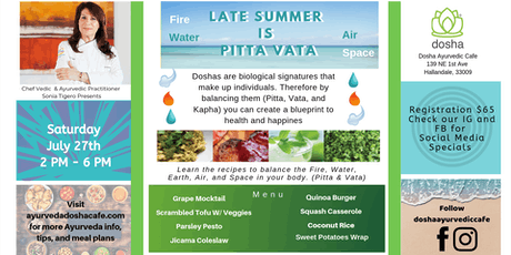 Ayurvedic Cooking Class Workshop: End Summer is Pita Vatta, Balance Your Body tickets