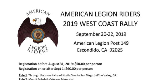 AMERICAN LEGION RIDERS 2019 WEST COAST RALLY