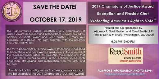  2019 Champions of Justice Award Reception and Fireside Chat 