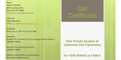 GIFT CERTIFICATE FOR PRIVATE TEA CEREMONY