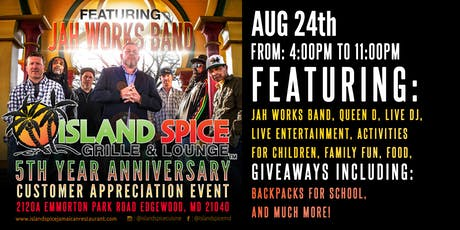 Island Spice Grille & Lounge 5th Year Anniversary: Customer Appreciation Event tickets