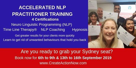 NLP Accelerated Practitioner Training - 4 Certificate, Hypnosis, TLT tickets
