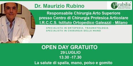 """La salute di spalla, mano, polso e gomito: l'Open Day gratuito al CentroFisioterapico Multispecialistico """"Reabilia biglietti"""