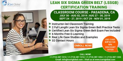Lean SixSigma Green Belt Training and Certification in Pasadena, CA, USA.