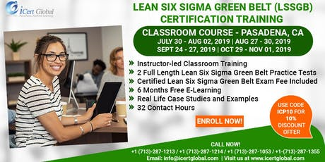 Lean SixSigma Green Belt Training and Certification in Pasadena, CA, USA. tickets
