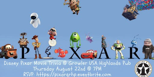 Disney Pixar Movie Trivia at Growler USA Highlands Pub