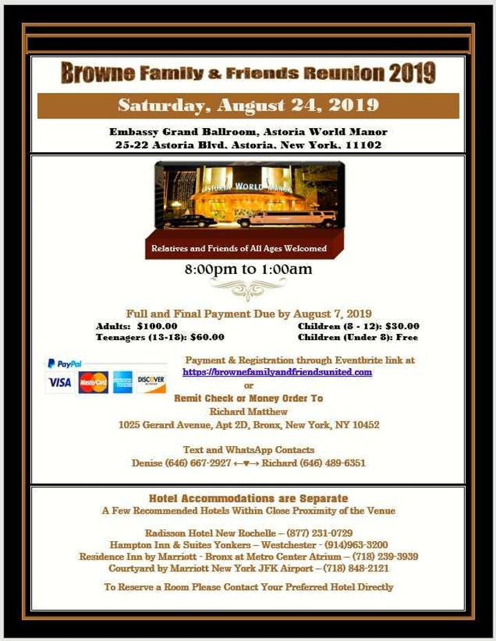 Browne Family and Friends Reunion 2019 Tickets, Sat, Aug 24, 2019 at