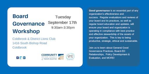 Board Governance Workshop - Coldbrook