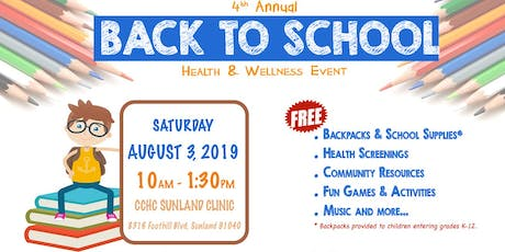 CCHC 4th Annual Back To School Health & Wellness Event tickets