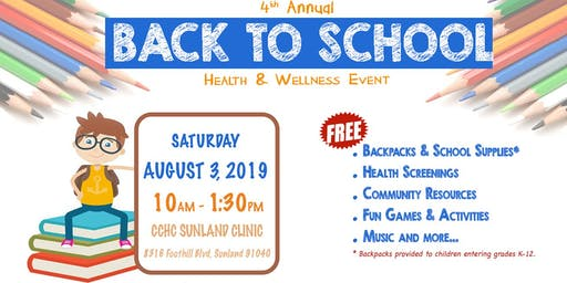 CCHC 4th Annual Back To School Health & Wellness Event