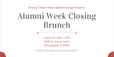 Erwin/Center Point Alumni Week Closing Brunch