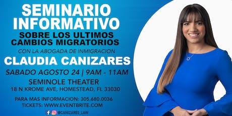 Claudia Cañizares - Seminario sobre los  cambios Migratorios tickets