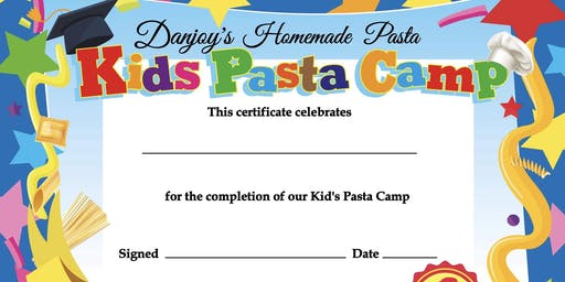Kid's Pasta Camp - July 22nd - July 25th