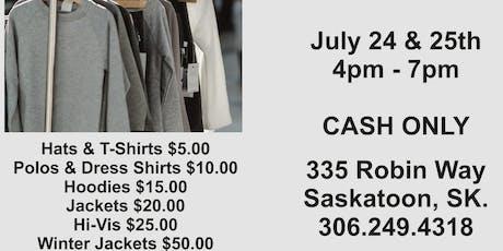 GARAGE SALE OF CLOTHING, HAT & BAG SAMPLES tickets