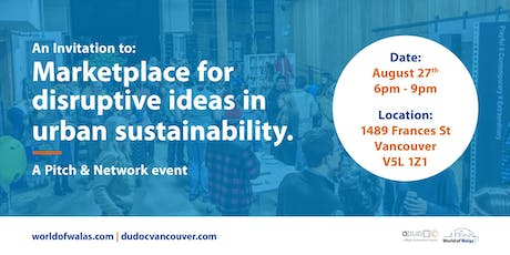Pitch & Network: Marketplace for Disruptive Ideas in Urban Sustainability tickets
