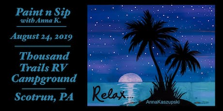 """Paint n Sip- """"Relax"""" on wood tickets"""