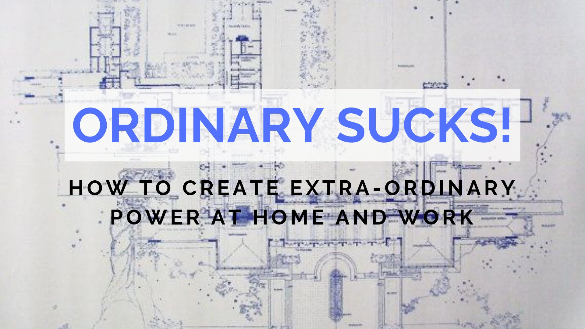 Ordinary Sucks! How to Create Extra-Ordinary Power at Home and Work