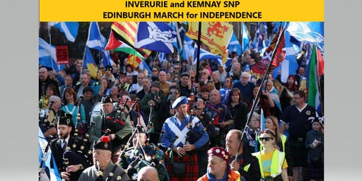 Bus from Inverurie to  Edinburgh.  Scotland's March for Independence 5th October.