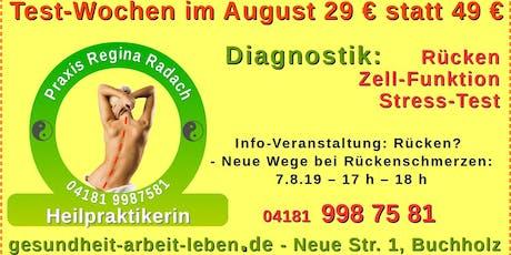 Rückenschmerzen? - Warum? Wieso? Info-Veranstaltung August Tickets