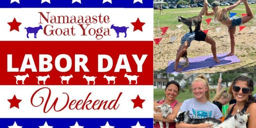 Beach Goat Yoga Labor Day Weekend: Namaaaste Goat Yoga 11am