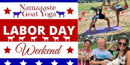 Beach Goat Yoga Labor Day Weekend: Namaaaste Goat Yoga 11am