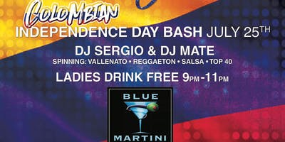 Colombian Independence Bash Thursday July 25th @ BLUE MARTINI FT LAUDERDALE