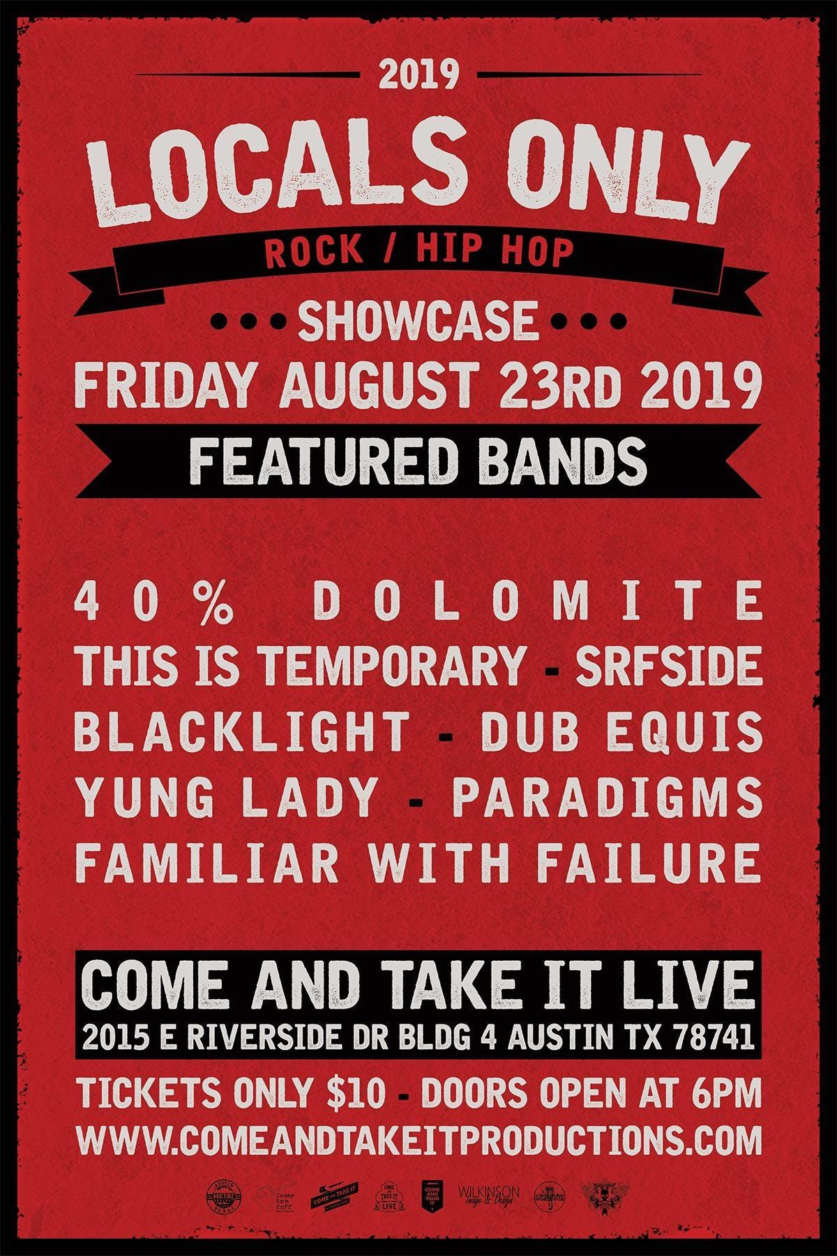 LOCALS ONLY: Rock / Hip Hop Showcase banner