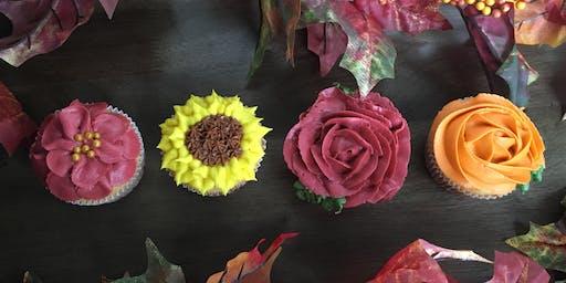 Fall flower cupcake decorating class