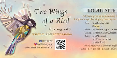 """UNIBUDS Bodhi Nite 2019 : """"Two Wings of a Bird"""" tickets"""