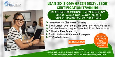 Lean Six Sigma Green Belt Certification Training Course in New York, NY, USA.